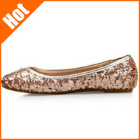 Promation !2014 summer paillette shoes bridesmaid comfotable wedding shoes Sequin Cloth Casual Flat women flats