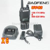 6pcs/lot Free Shipping Walkie Talkie UHF+VHF 136-174MHZ+400-520MHZ 5W 128CH Two Way Radio BaoFeng UV-82