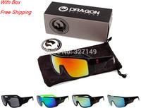 Outdoor sports travel multicolor windproof DRAGON DOMO sunglasses,fashion reflective UV400 oculos de sol,with box