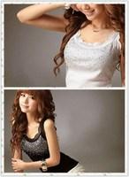 Women's Rhinestone Lace Stunning Based Sleeveless Vest Tank Top Tee T-Shirt
