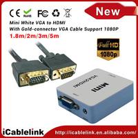 VGA + audio TO HDMI Mini video audio Converter connector adapter 1080P white free shipping