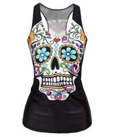 EAST KNITTING V-09 Free Shipping spring new 2014 women t-shirt Floral sugar skull crop tops adventure time camisole HOT SALE