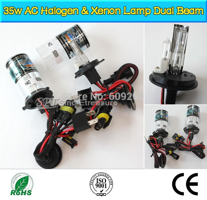 AUTO HID XENON BULBS Xenon Car Lamps Headlights H4-2,H13-2,9004-2,9007-2 Dual Beam Halogen and Xenon Lamp 12V 35W AC(China (Mainland))