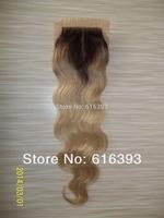 Stock Ombre Closure & Cheap Silk Base Closure Brazilian Hair #2T27 Body Wave Two Tone Lace Closures Blonde Lace Closure