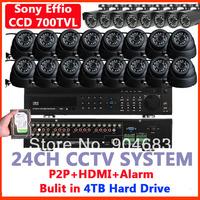 HDD 4TB 24Channel CCTV Video Surveillance Security Cameras Sony Effio CCD 700TVL (16 indoor+8 outdoor) & DVR HDMI plug&play
