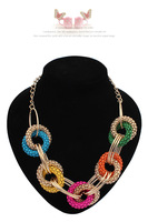 2014 New Fashion Women's Jewelry Vintage Ethnic Exaggerated Multicolor Geometric Circle Pendant Necklace~CN396