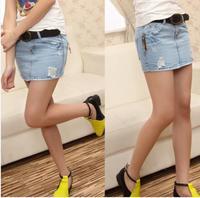 [TC] 2014 summer denim skirts womens new arrival fashion all-match hole bust skirt fashion sexy short  jeans pencil skirt