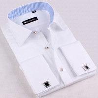 2014 French Cufflinks Mens White-collar Long-sleeve Commercial Slim Dress Shirts Business Work Shirts French Cuff Shirts for men