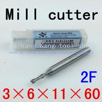 New 2flute HSS-AL dia 3mm endmill milling cutter machine tool CNC lathe tool 2F3*6*11*60mm 3x6x11x60mm