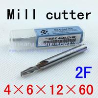 New 2flute M2AL dia 4mm endmill milling cutter machine tool CNC lathe tool  Super-hard high speed steel cutter2F4*6*12*60mm