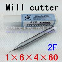 New 2flute M2AL dia 1mm endmill milling cutter machine tool CNC lathe tool  Super-hard high speed steel cutter2F1*6*4*60mm