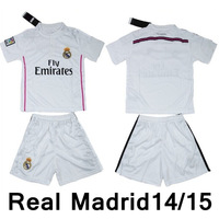 Customize 14/15 real madrid home white  thai quality kids soccer football jersey+shorts kits,children soccer Uniforms,size:16-28