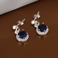 Wholesale 925 Silver Earring 925 Silver Fashion Jewelry,Inlaid Blue Stone Earrings Top Quality SMTE449