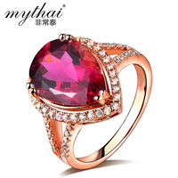 925 silver gold plated ring ruby drop big rose gold ring decoration jewelry