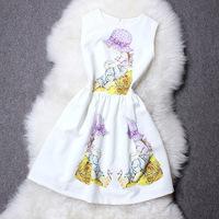 2014 Fashion Show Women Summer Dresses With Cartoon Girl Printing,Ladies Empire Waist Sleeveless White One-Piece Dress Vestidos