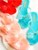 Sweet jelly crystal flip flops bow super-soft flip flops slippers flat-bottomed female slippers 5 color free shipping