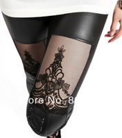 Fashion New 2014 Punk Sexy PU Leather Stitching Embroidery Bundled Hollow Lace Black Leggings for Women Hot S102-261