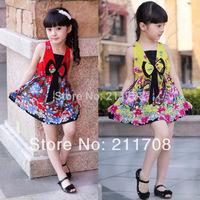 2014 retail new summer children dress girls national style princess dress with bowknot knee length princess casual girl dress