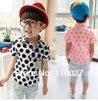 2014 new baby summer blouse boy girl shirts polka dot children polo shirt outwear wholesale 5pcs short sleeve camisas meninos
