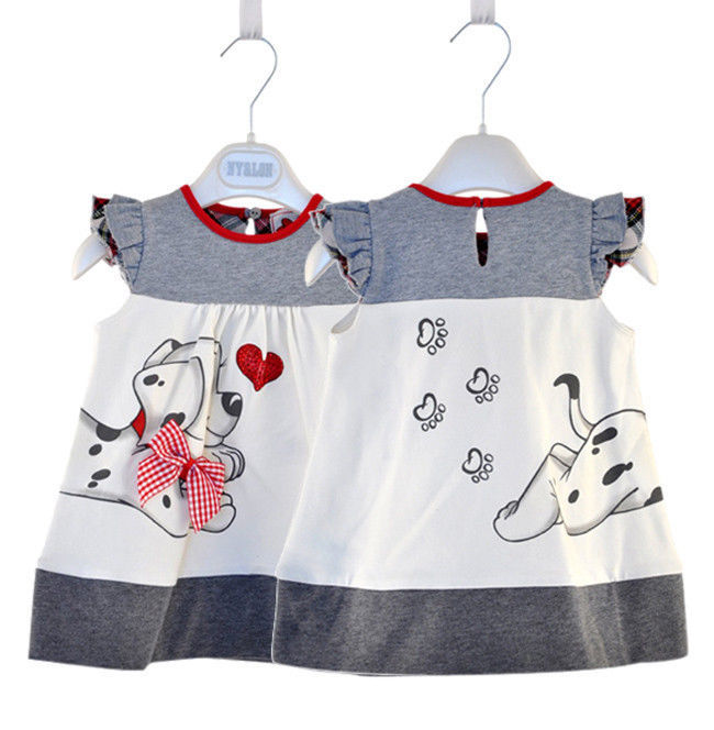 2013 New Baby Girl Fashion Dresses cute dog style Dress 1pcs/lot retail! Free shipping children's clothing kids dress summer(China (Mainland))