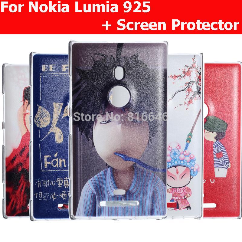 PC Material Fashion Cartoon Case For Nokia Lumia 925 Cell Phone Cases Nokia 925 Case Lumia 925 + Screen Protector(China (Mainland))