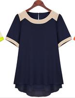 Extra large big size clothing summer  ultralarge 2014 fashion medium-long summer short-sleeve chiffon shirt  XXXL XXXXL XXXXXL