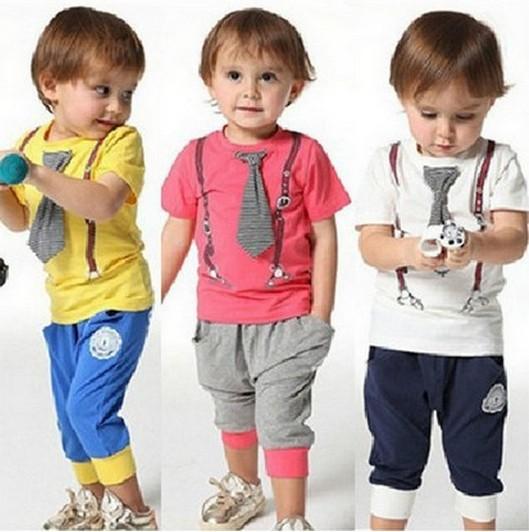 BIG sale!! / New Design /100% Cotton 2014 spring-summer new arrived casual sport tie children baby boy clothing sets kids ATZ024(China (Mainland))