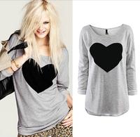 2014 New Fashion Women Love Heart Printed Round Neck Long Sleeve T-shirt Tops Shirt Tees S-XL Free Shipping