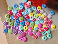 100pcs Mixed Multicolor 15mm polka dot small polka dot rustic plaid handmade diy accessories small wooden buttons