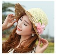 Spring 2014 new Retail Fashion Women Wide Large Brim Flower Summer Beach a Sun hat Straw Hat Flower Cap summer hats for women