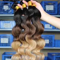 SunnyQueen Hair Products Body Wave Peruvian Virgin Hair Human Hair Weaves Ombre Hair Extensions three tone 1b/#4/#27 4pcs lot
