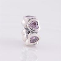 100% 925 Sterling Silver Flower Charm Bead Ball with Heart Shape Rhinestone Cz Crystal Jewelry Fit Pandora Charm Bracelet C34