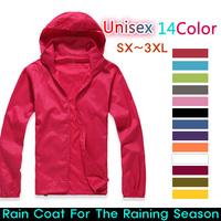 2014 New Unisex Rain Jacket Windbreaker Jacket Outdoor Windproof Waterproof Jacket/UV Cut/SX-XXXL Size/Quick-Drying 15Colors