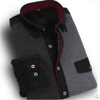 New Arrival Mens Long Sleeve Winter Casual Shirts Cotton Patchwork Plaid Shirts Thermal Thickening  Mandarin Collar Dress Shirts