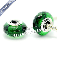 2pcs 925 Sterling Silver Fascinating Green Faceted Murano Glass Beads Charm Fit European pandora Bracelet Necklaces