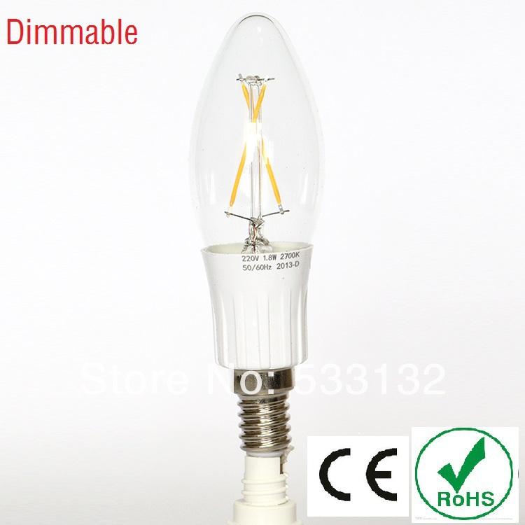 Free ship Dimmable 1.8W/3W LED filament bulb 4pcs/lot LED lamp E14 led bulb leb light 360 degree C35 Candle 25W replacment(China (Mainland))