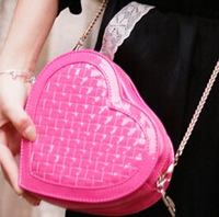 Mini japanned leather candy bag women's handbag knitted heart shaped bags chain one shoulder cross-body bag small  Drop shipping