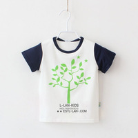 Child clothing boys summer short-sleeve T-shirt happy tree colorant match male child casual t-shirt