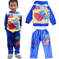 2014 winter designer children's apparel 3~7age kids car sports tracksuit pants two-pieces suit Buy wholesale clothing