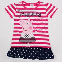 Fashion Nova 18m/6y cotton Baby Girls Short Sleeve T- Shirts Peppa Pig Kids summer T Shirt Embroidery striped children clothing