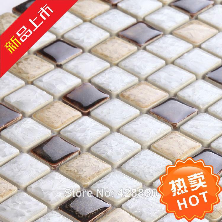 Glazed porcelain tile backsplash kitchen Bathroom wall tile stickers AB30 1 inch Porcelain mosaic floor tiles Ceramic pool tiles(China (Mainland))