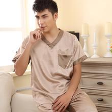 Male silk sleepwear at home service summer short sleeve length pants silk V-neck set lounge(China (Mainland))