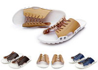 NEW 2014 Leather Mens Sandals Women Beach Flats Fashion Vacation Driving Summer Jogging  Breathable Wading Shoes 38-43