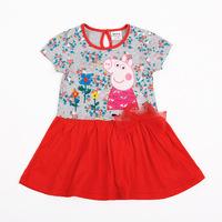 2014 Hot summer kids wear cotton baby girls dress Peppa Pig Floral mini princess dress fashion children clothing H4221