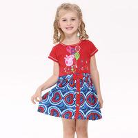 2014 Hot summer kids wear cotton Lovely baby girls dress Peppa Pig Floral princess dress fashion Casual children clothing H4386