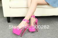 Sale 2014 summer 19cm ultra high heels sexy sandals,Belt buckle Patent leather women's shoes cosplay pumps  big size Eur40-45 46