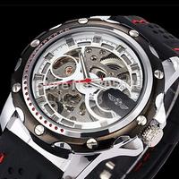 Winner Black Rubber Automatic Mechanical Watch Men Skeleton Mechanical Watches Fashion Sports Wrist Watch