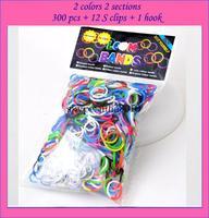 12pack/lot 2014 NEW loom bands 2 color 2 section rubber bands  ( 300PCS rubber band + 12PCS S + 1 PCS )