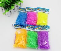 12 packs /lot 2014 new loom bands candy color glow in dark rubber bands (600PCS rubber band +24 PCS S +1 PCS hook )