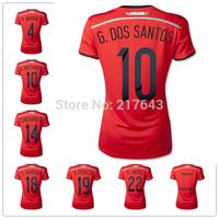 Women Mexico 2014 World Cup jerseys Orange Shirt Soccer Uniforms G.DOS SANTOS AQUINO CHICHARITO O.PERALTA JIMENEZ MARQUEZ Lady